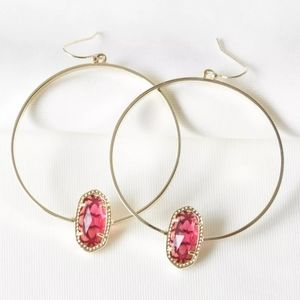 "Kendra Scott ""Elora"" Gold Hoop Red Dusted Earrings"